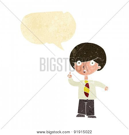 cartoon school boy answering question with speech bubble