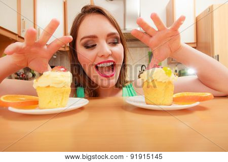 Woman Grabbing Delicious Sweet Cake. Gluttony.