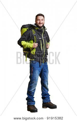 full-length portrait of smiley traveller with backpacker. isolated on white background