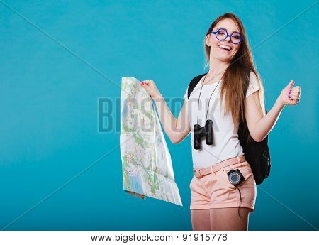 Tourist Woman Sunglasses Read Map On Blue