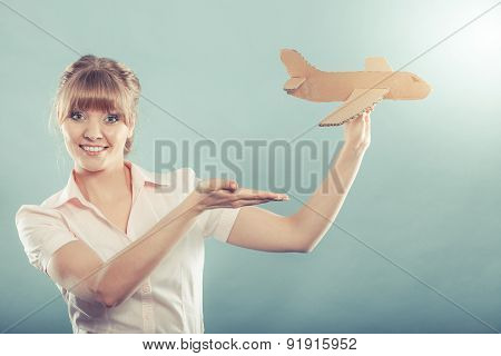 Woman Stewardess Invites To Travel Holds Airplane
