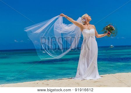 young beautiful bride on her wedding day