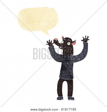 cartoon happy werewolf man with speech bubble