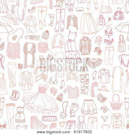 Vector Seamless Pattern Of Different Women's Clothes And Accessories, From Underwear To Outerwear.