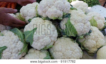 Group Of Cauliflower At Market