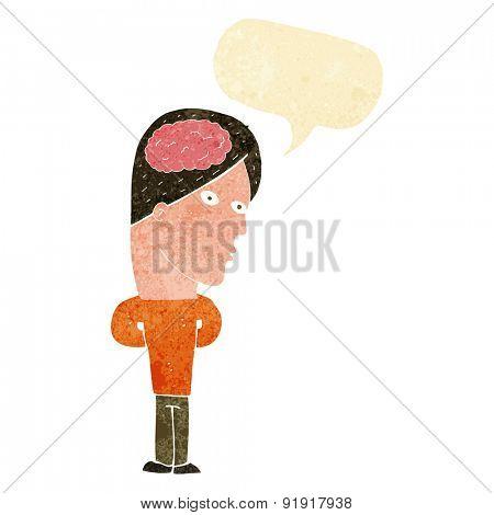 cartoon man with big brain with speech bubble