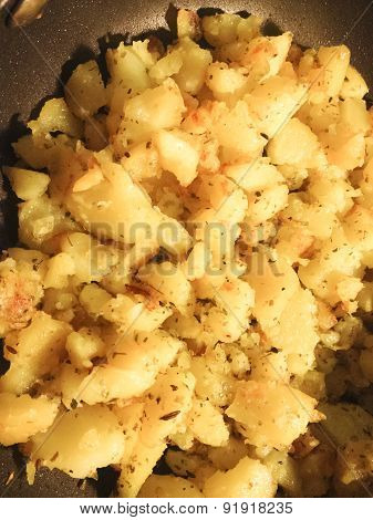 Aerial View Homemade Roast Potatoes In Pan Ready For Serving