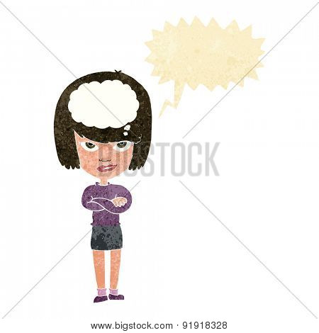 cartoon woman with folded arms imagining with speech bubble