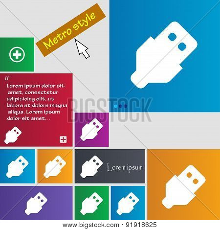Usb Icon Sign. Metro Style Buttons. Modern Interface Website Buttons With Cursor Pointer. Vector