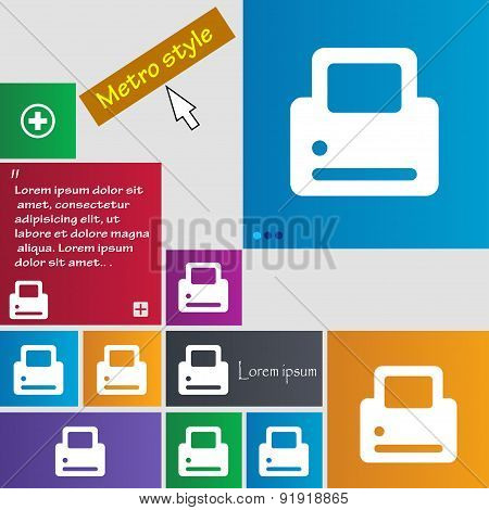 Printing Icon Sign. Metro Style Buttons. Modern Interface Website Buttons With Cursor Pointer. Vecto
