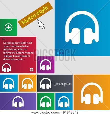 Headphones, Earphones Icon Sign. Metro Style Buttons. Modern Interface Website Buttons With Cursor P