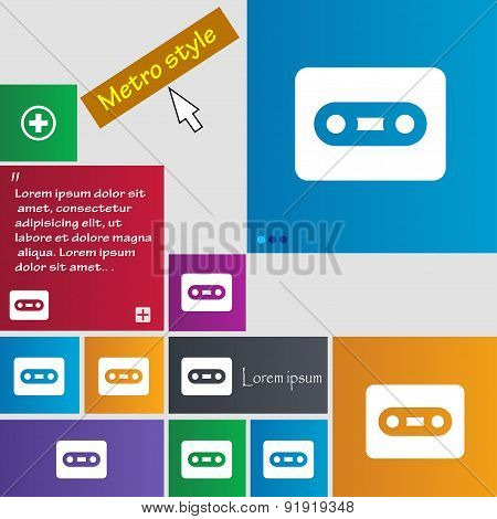 Cassette Icon Sign. Metro Style Buttons. Modern Interface Website Buttons With Cursor Pointer. Vecto