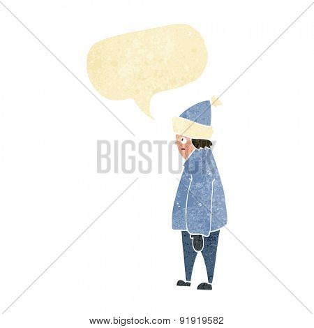 cartoon person in winter clothes with speech bubble