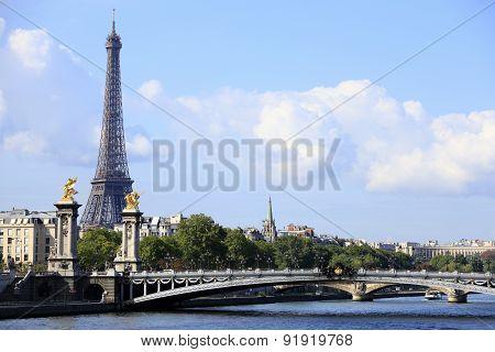 River Seine With Eiffel Tower