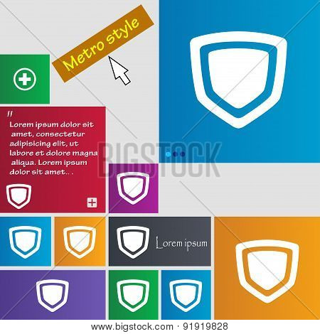 Shield Icon Sign. Metro Style Buttons. Modern Interface Website Buttons With Cursor Pointer. Vector