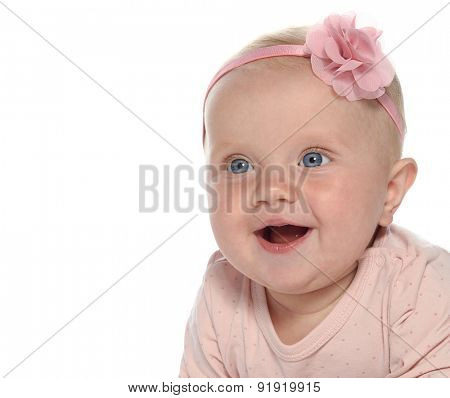 baby girl child l smiling happy pink fashion portrait face studio shot isolated on white caucasian