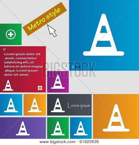 Road Cone Icon Sign. Metro Style Buttons. Modern Interface Website Buttons With Cursor Pointer. Vect