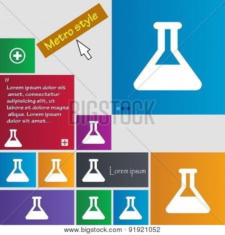Conical Flask Icon Sign. Metro Style Buttons. Modern Interface Website Buttons With Cursor Pointer.