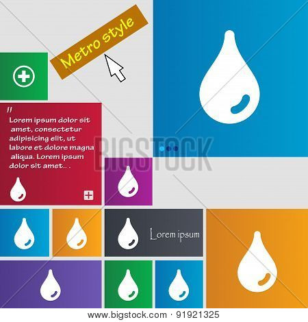Water Drop Icon Sign. Metro Style Buttons. Modern Interface Website Buttons With Cursor Pointer. Vec