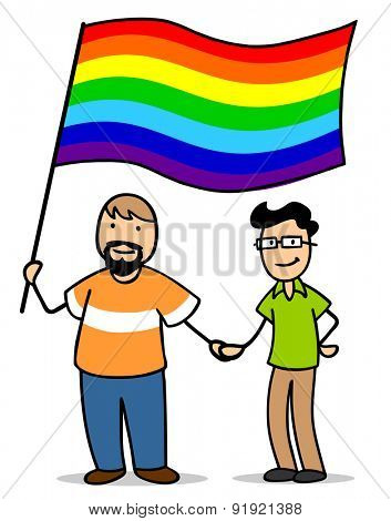 Gay male couple with rainbow flag as a sign for homosexuality and LGBT