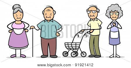 Group of senior people in retirement home with walking frame and stick