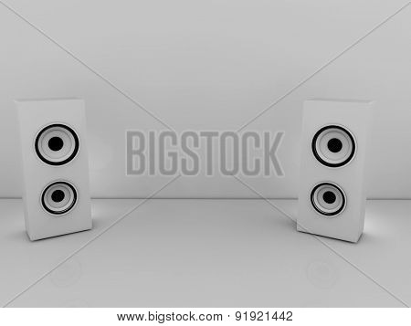 3d White speakers on the grey background with copy space