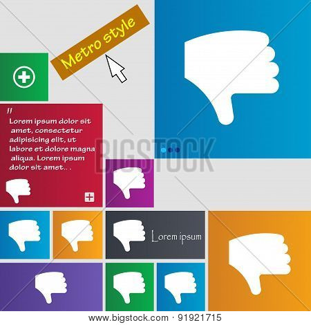 Dislike, Thumb Down, Hand Finger Down Icon Sign. Metro Style Buttons. Modern Interface Website Butto