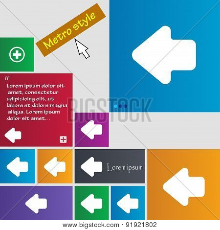 Arrow Left, Way Out Icon Sign. Metro Style Buttons. Modern Interface Website Buttons With Cursor Poi