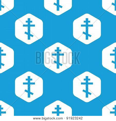 Orthodox cross hexagon pattern
