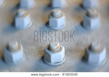 Single Large Nut And Bolt In Focus