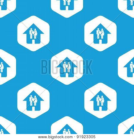 Couple in house hexagon pattern