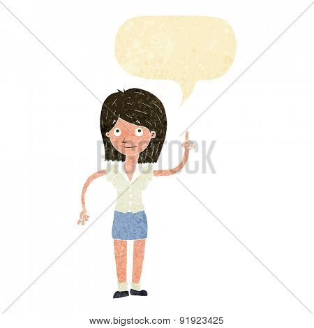 cartoon woman with idea with speech bubble
