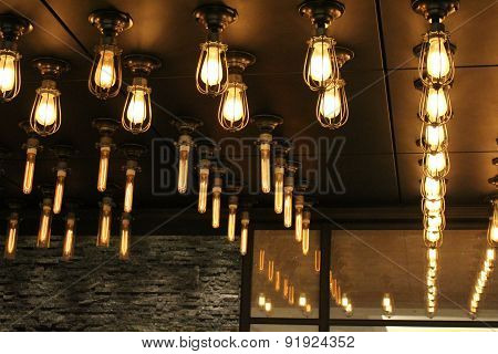 Light Bulbs Hanging From Ceiling