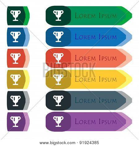 Winner Cup, Awarding Of Winners, Trophy Icon Sign. Set Of Colorful, Bright Long Buttons With Additio
