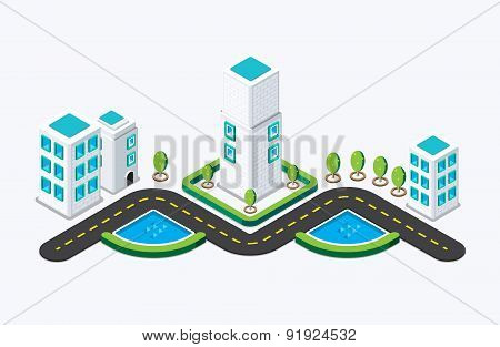 Isometric City Building. Vector Illustration