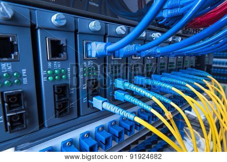 Fiber optic equipment in a data center