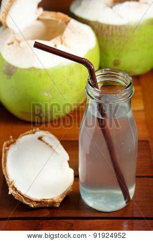 Coconut Water Drink In Glass Bottle