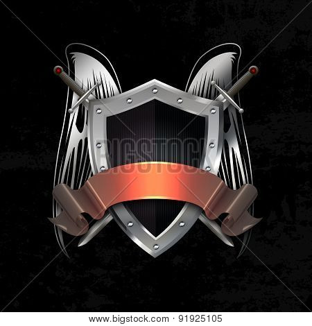 Silver Riveted Shield With Swords, Wings And Ribbon.