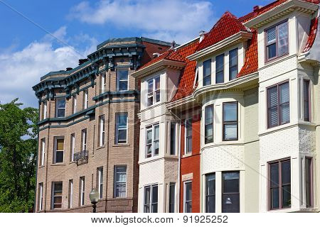Modern row houses of historic surburb in Washington DC.