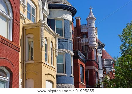 Colorful townhouses near Dupont Circle in Washington DC.