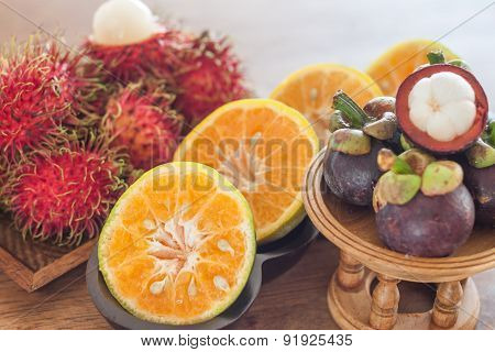 Thai Tropical Fruit On Wooden Table