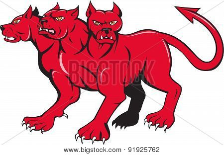 Cerberus Multi-headed Dog Hellhound Cartoon