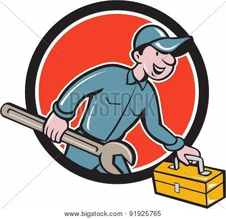 Mechanic Carrying Toolbox Spanner Circle Cartoon
