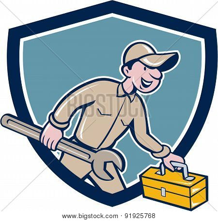 Mechanic Carrying Toolbox Spanner Shield Cartoon