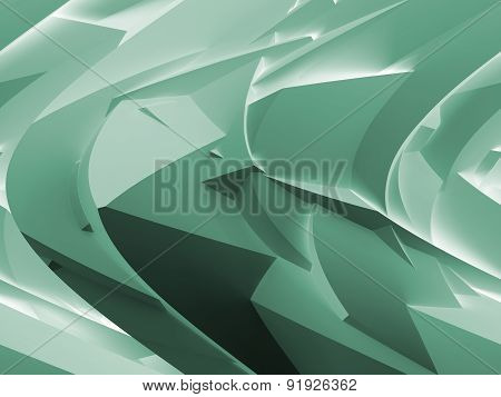 Abstract Green Digital 3D Chaotic Polygonal Surface