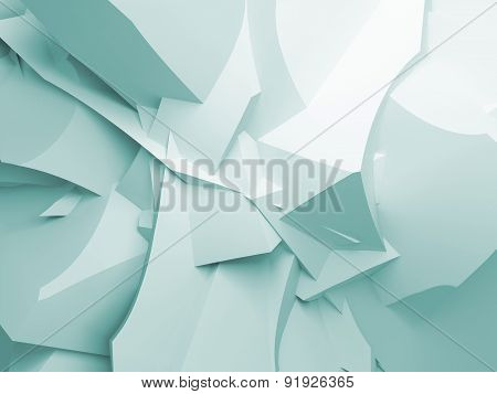 Abstract Digital 3D Curved Chaotic Polygonal Surface