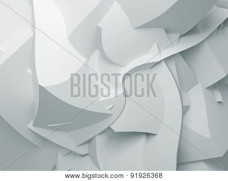 Abstract White Digital 3D Chaotic Polygonal Surface