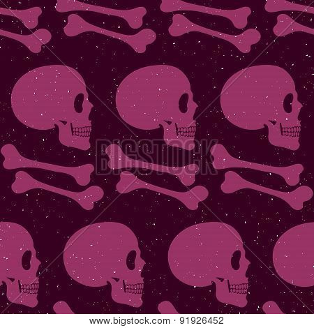 Pink Human Skull Seamless Pattern