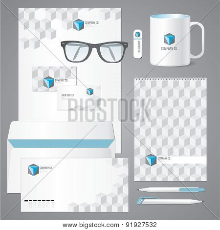 Architectural Corporate Identity Template With 3D Cube Pattern.