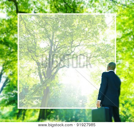 Green Business Businessman Thinking Conservation Concept